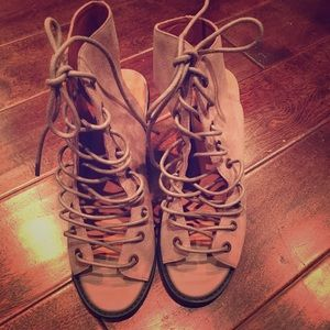 Shoes - Jeffrey Campbell x Free people lace up heels